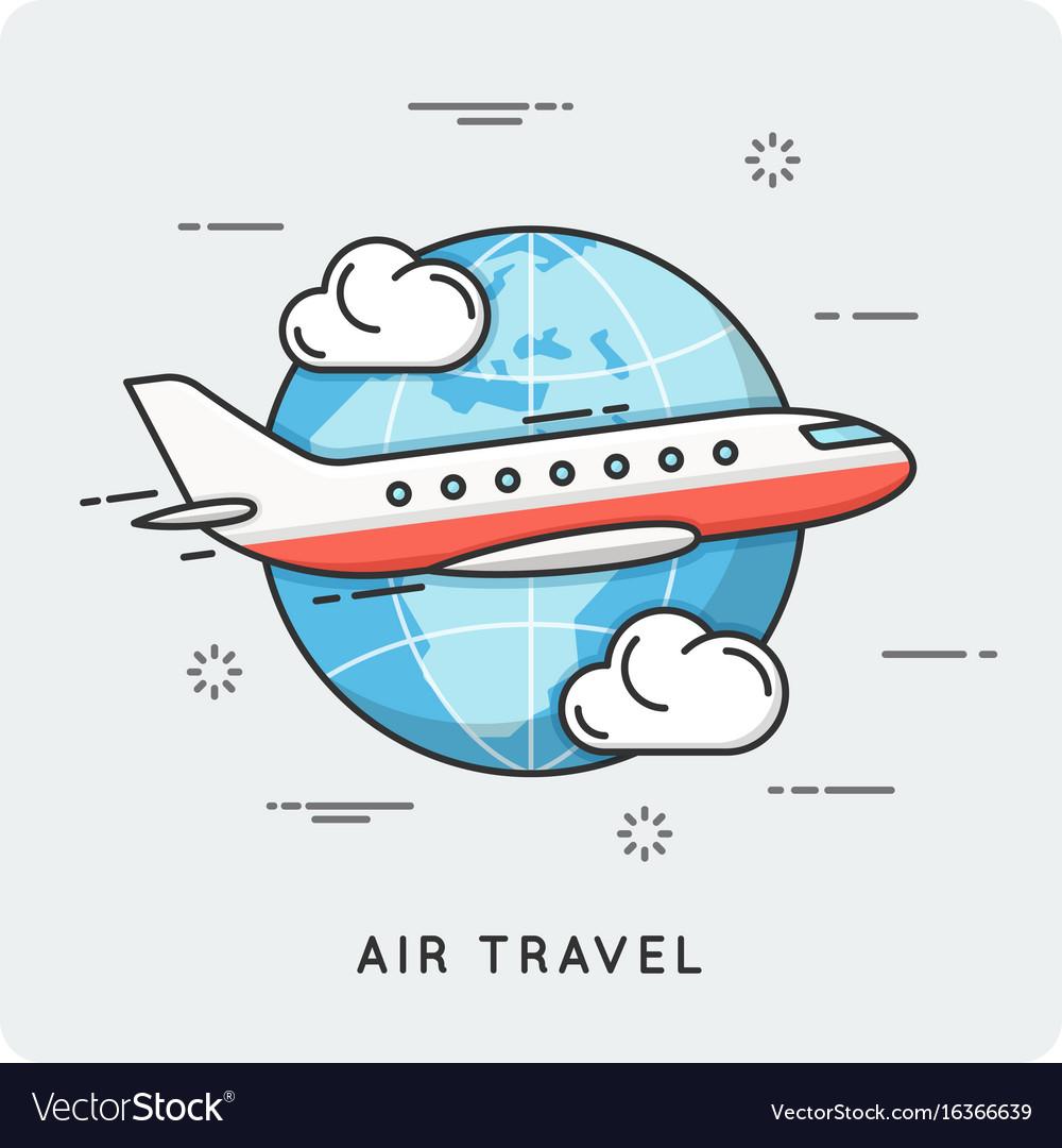 Air travel thin line concept