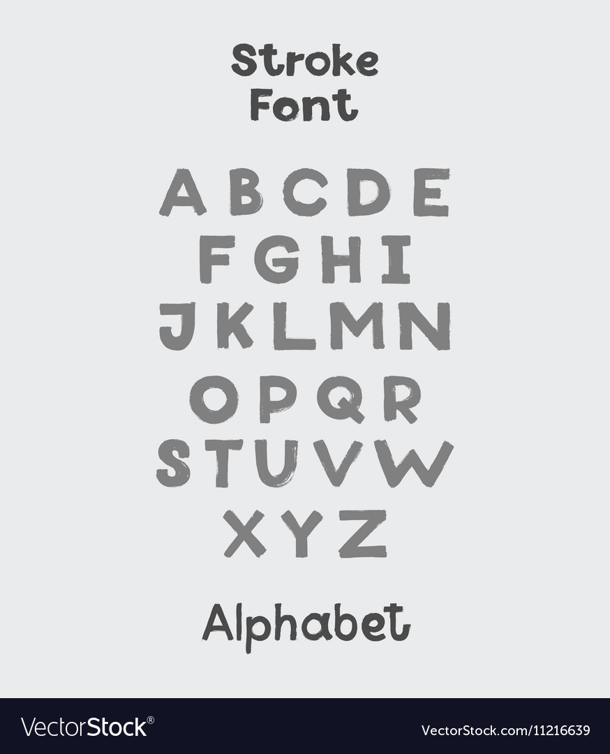 Alphabet English Sloppy Fat Stroke Font Letters Vector Image On VectorStock