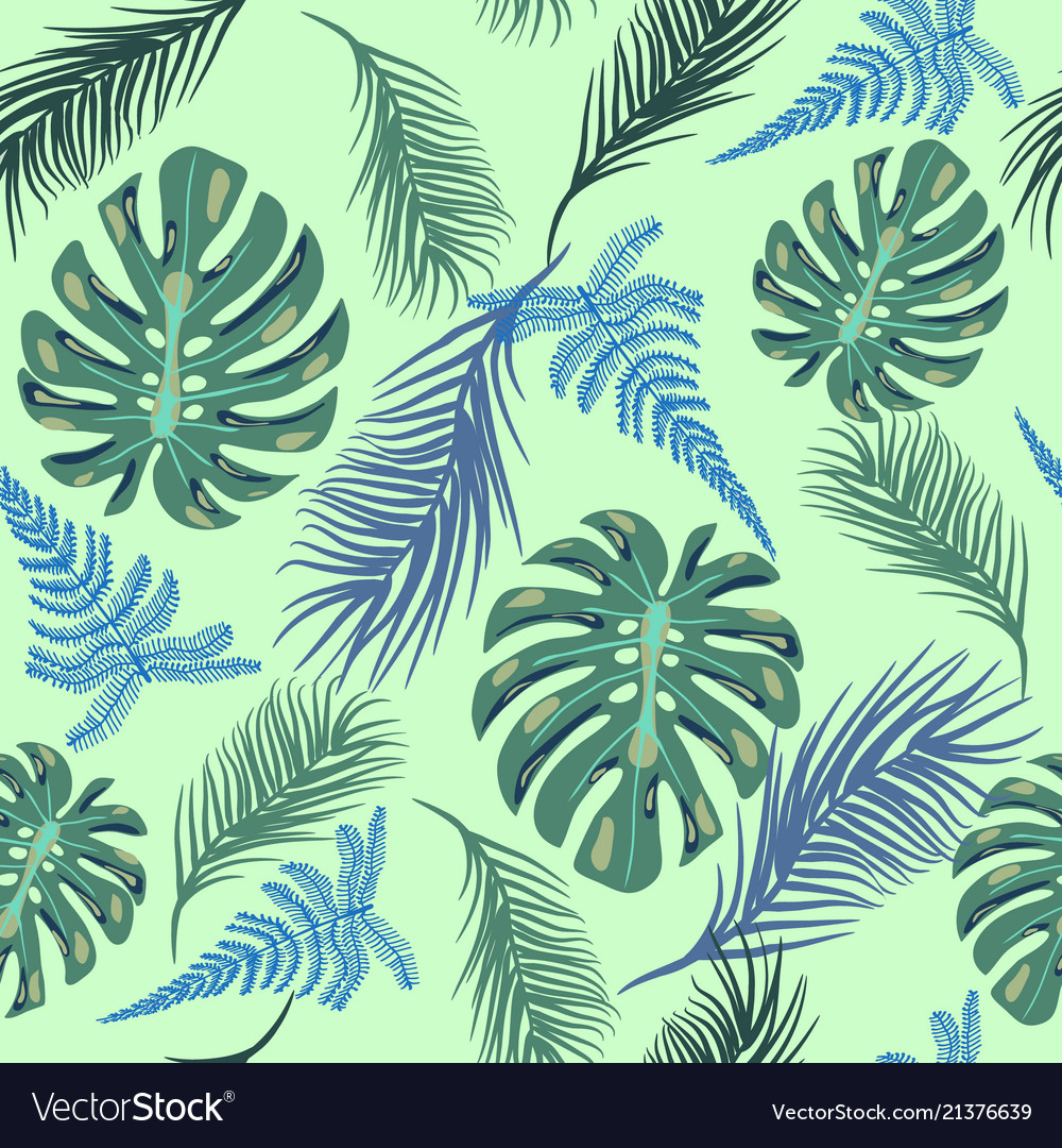 Background with exotic plant leaves