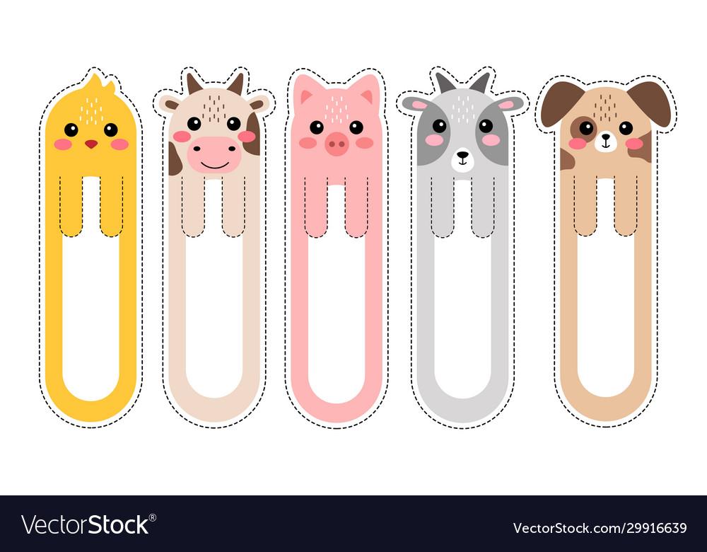 Cartoon kawaii bookmarks with animals