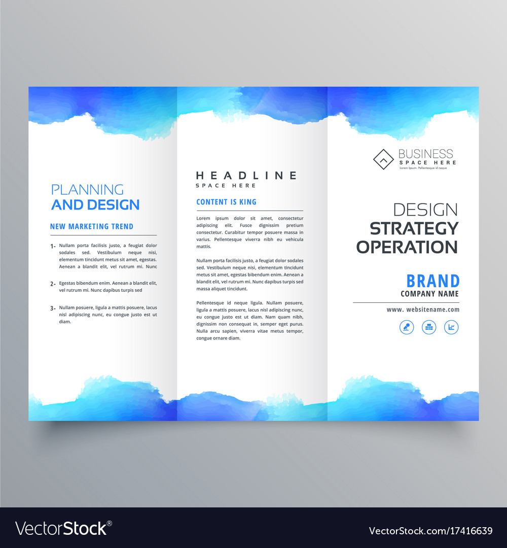 creative blue watercolor trifold brochure design vector image