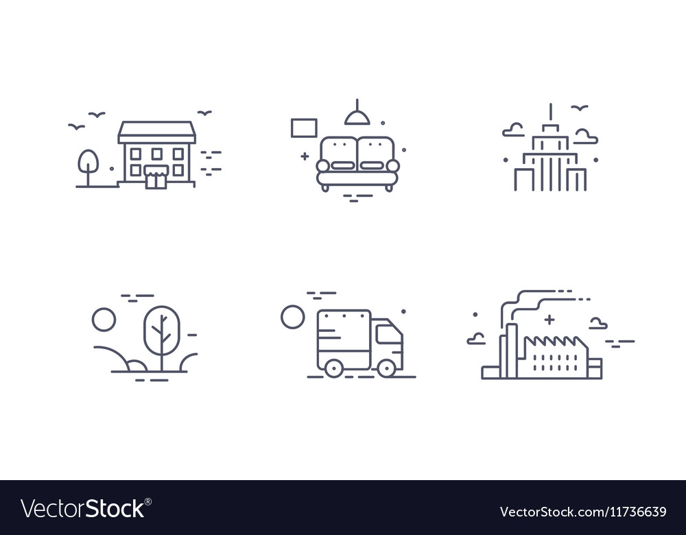 Different buildings icon set for real estate