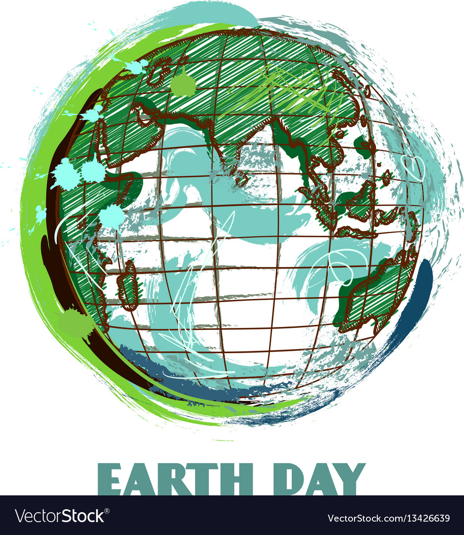 Earth day poster with earth globe