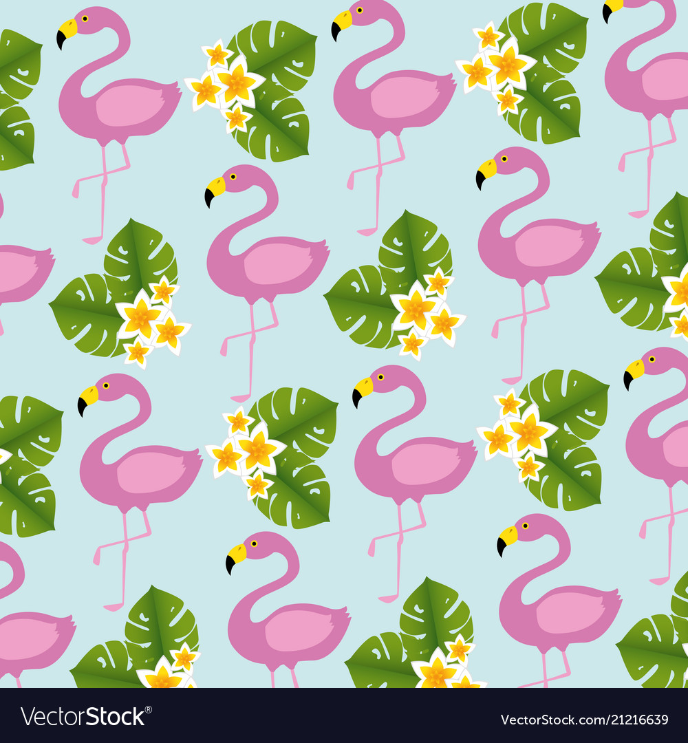 Exotic flamingos birds and flowers pattern