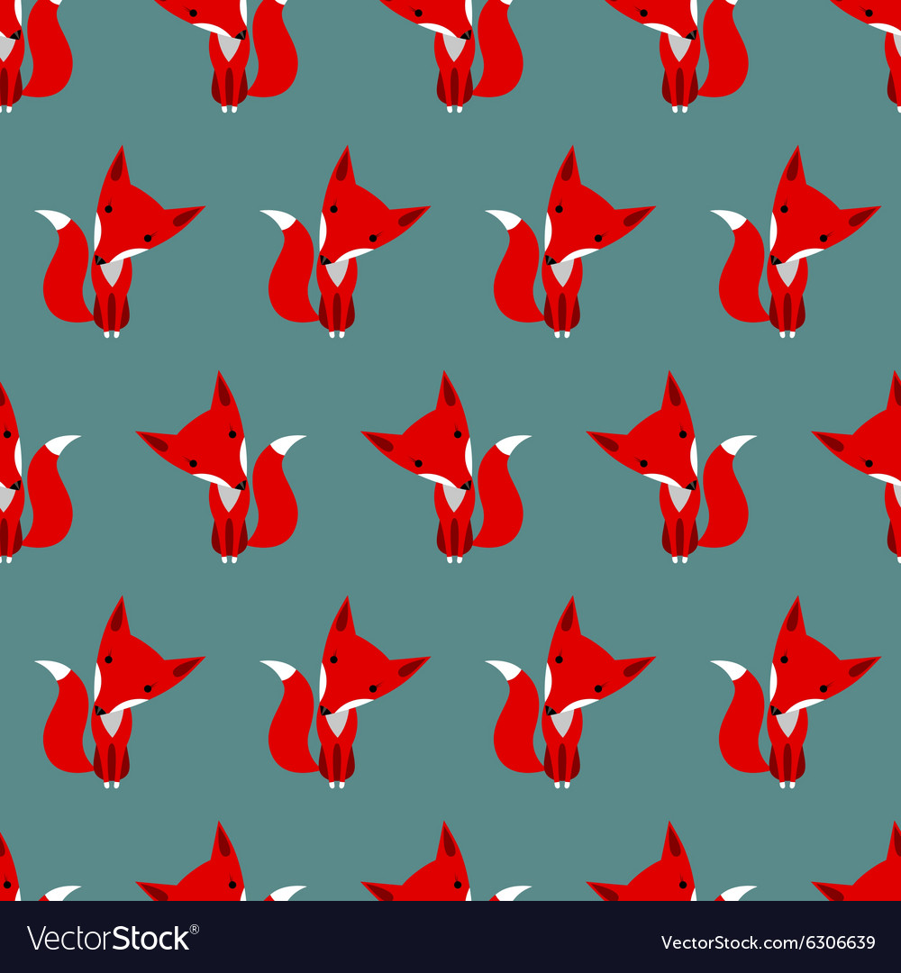 Graphically foxes in cartoon style pattern