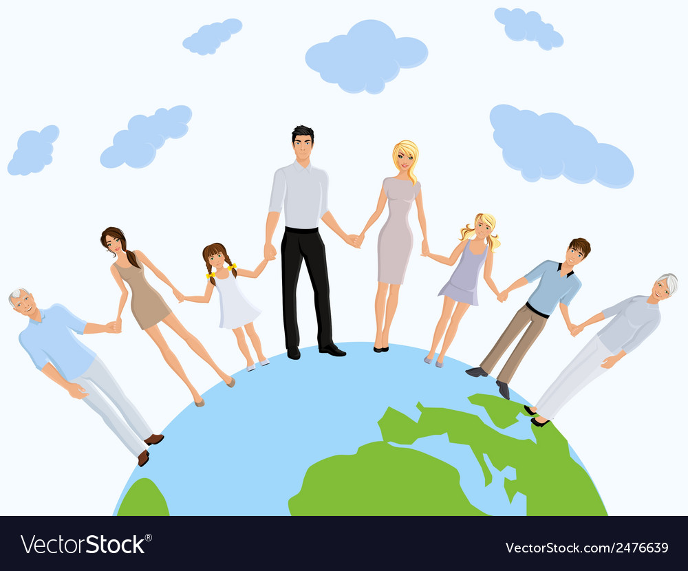 Happy family earth vector image