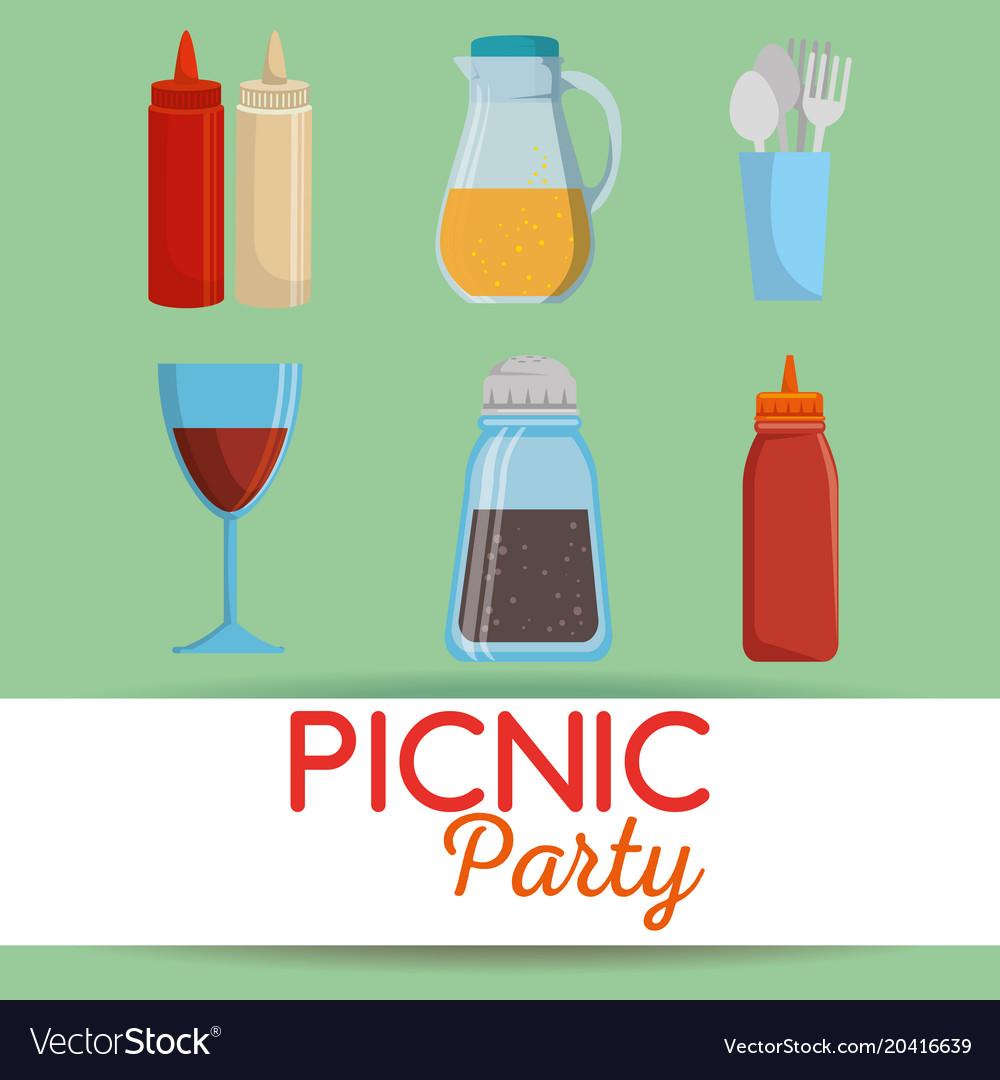 Picnic party invitation set icons royalty free vector image picnic party invitation set icons vector image stopboris Images