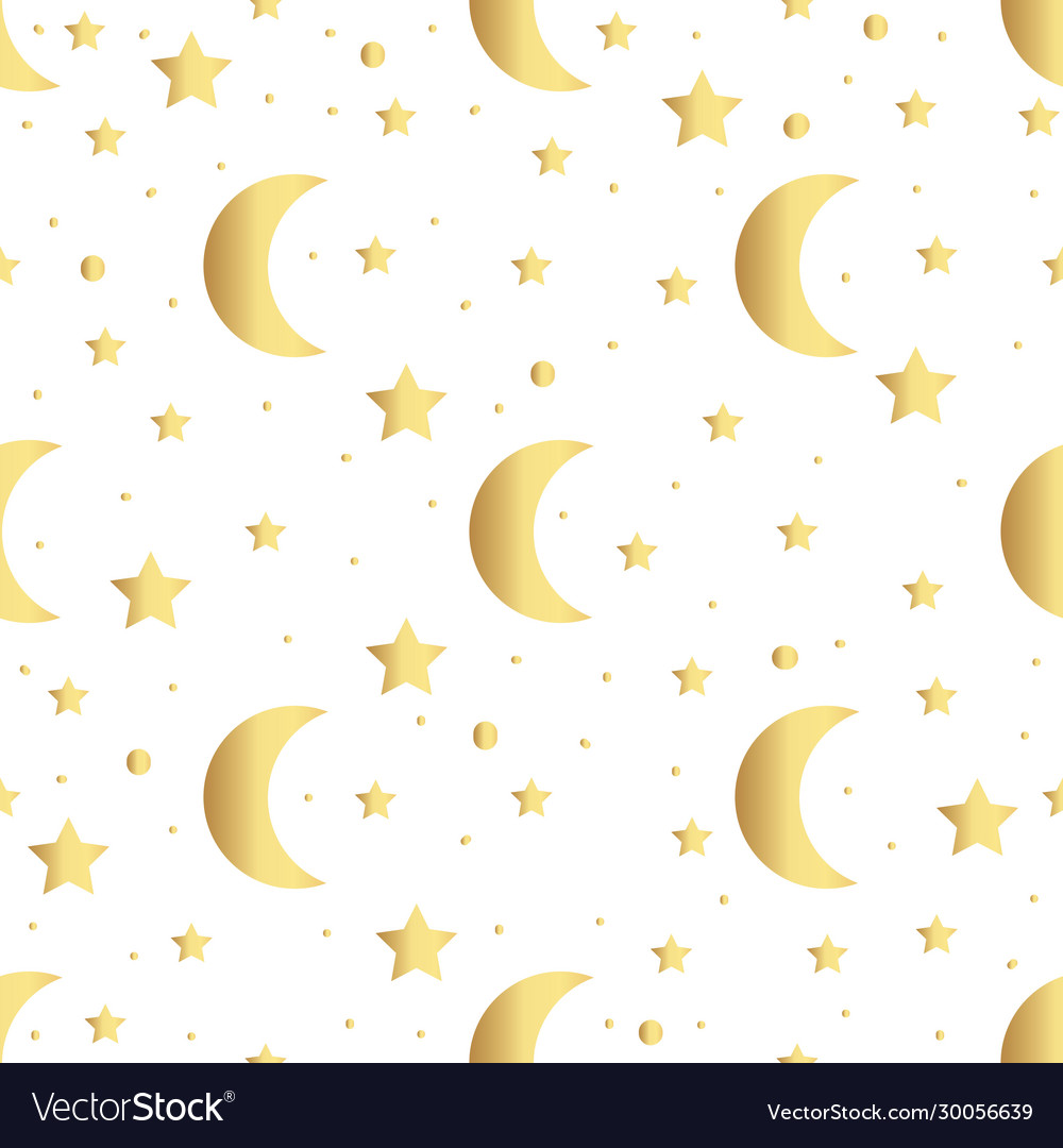 Seamless pattern with gold stars and moon