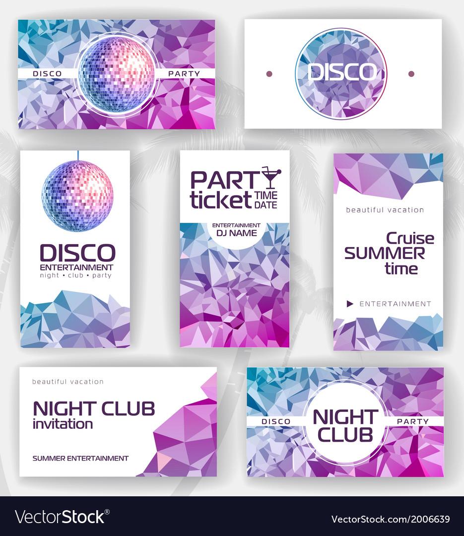Set geometric disco visiting card