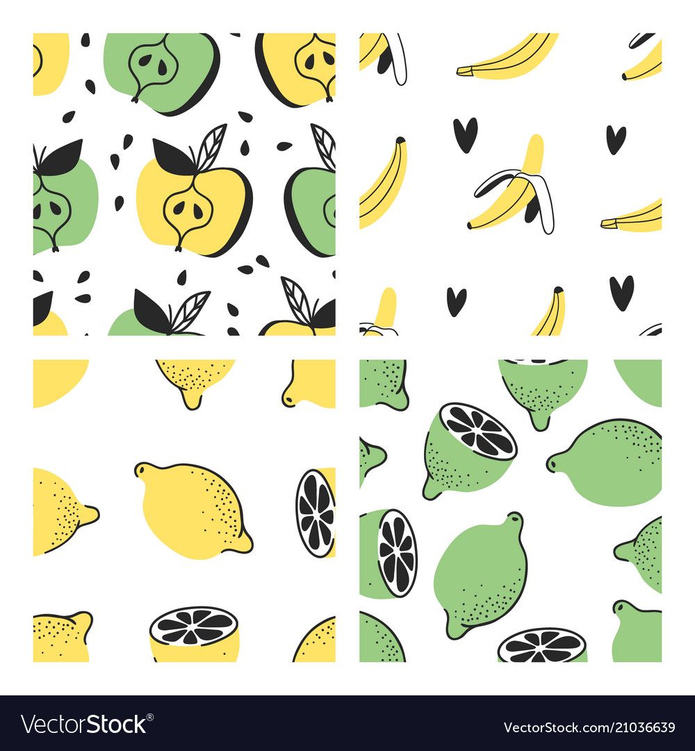 Set of hand drawn seamless pattern with tropical