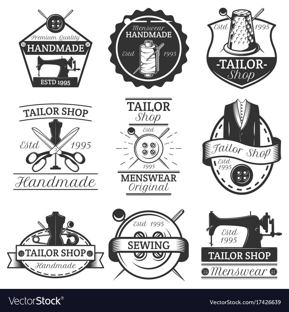 Set vintage tailor labels badges and