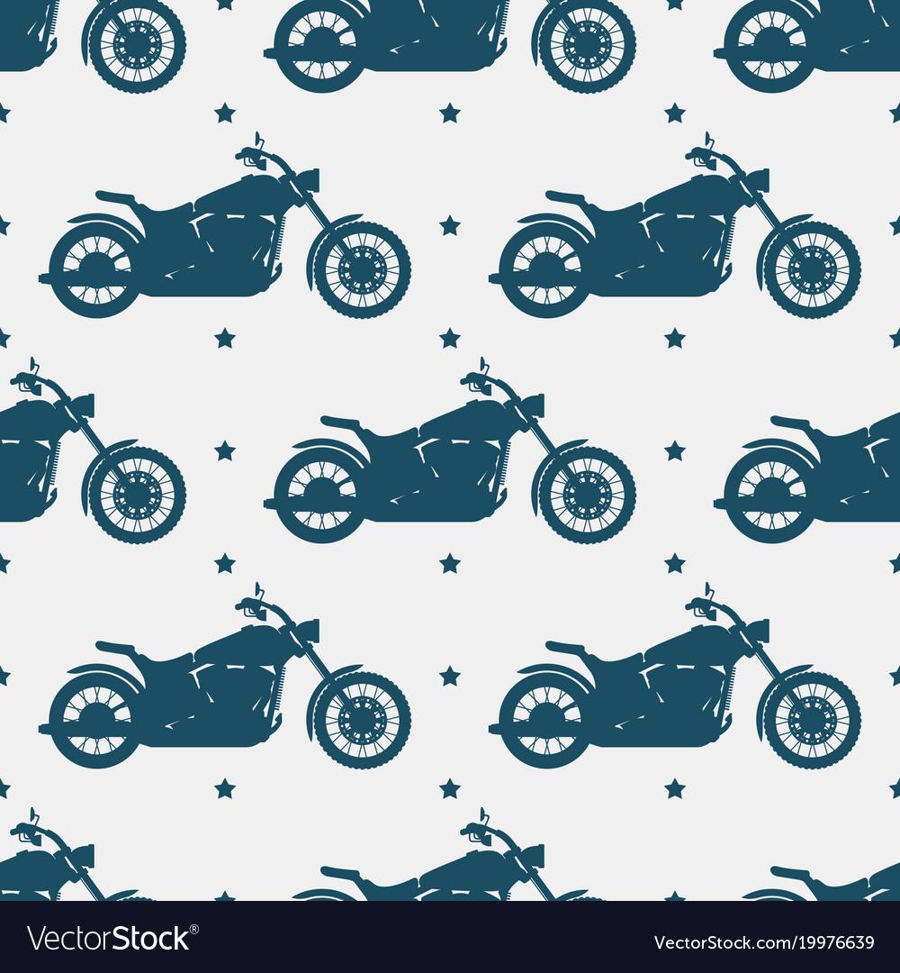 Sport motorbike silhouette and seamless pattern