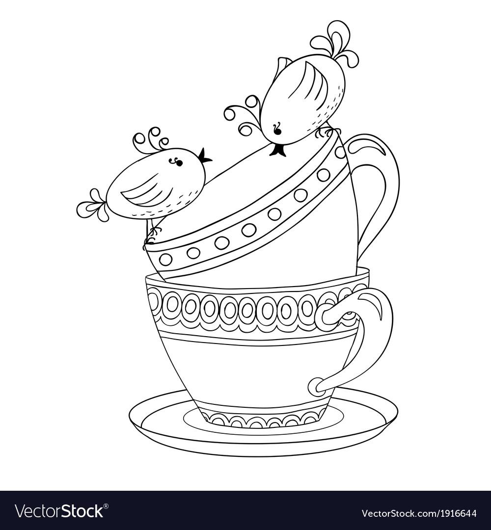 Card with tea cups and art birds