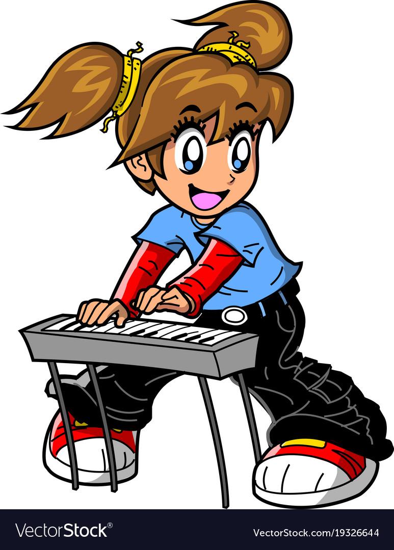 Piano woman. Girl keyboard player anime