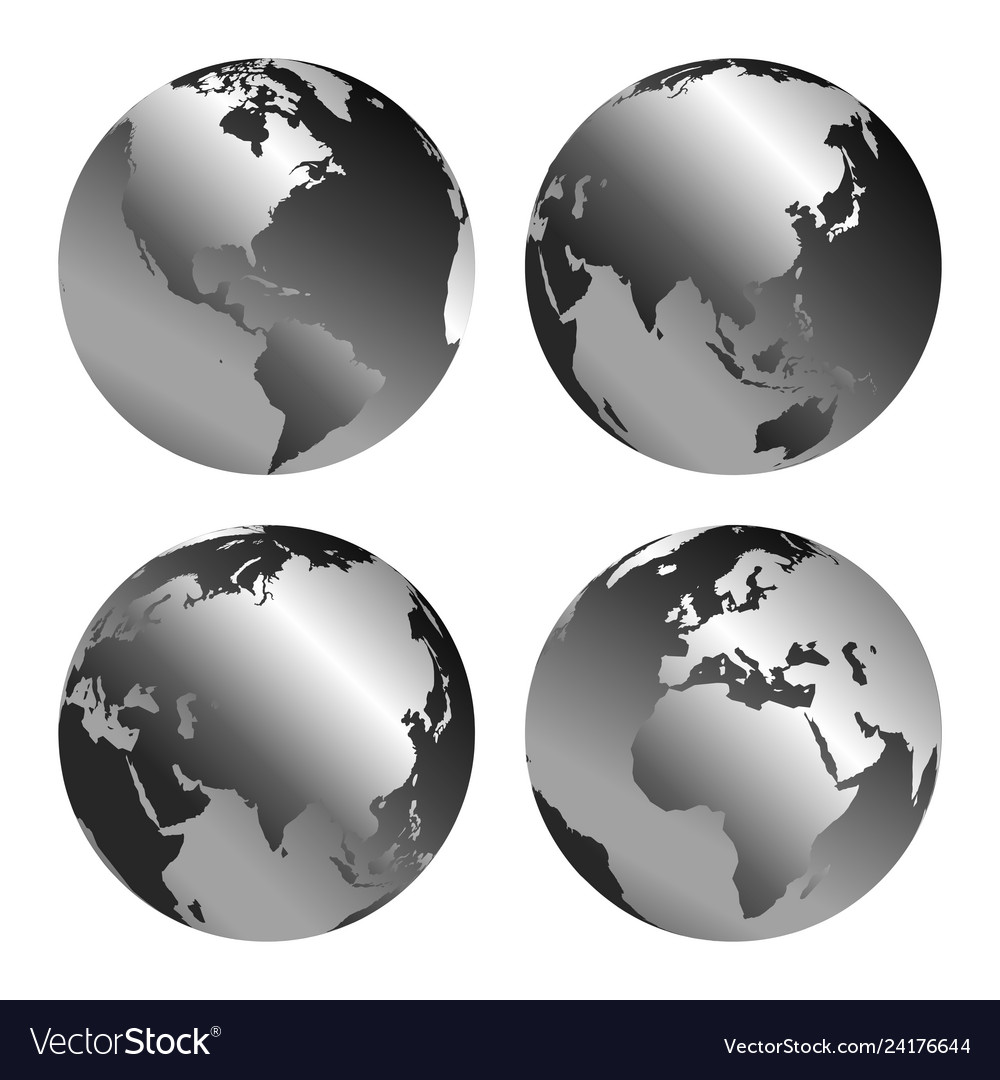 Gray globe icons with different continents