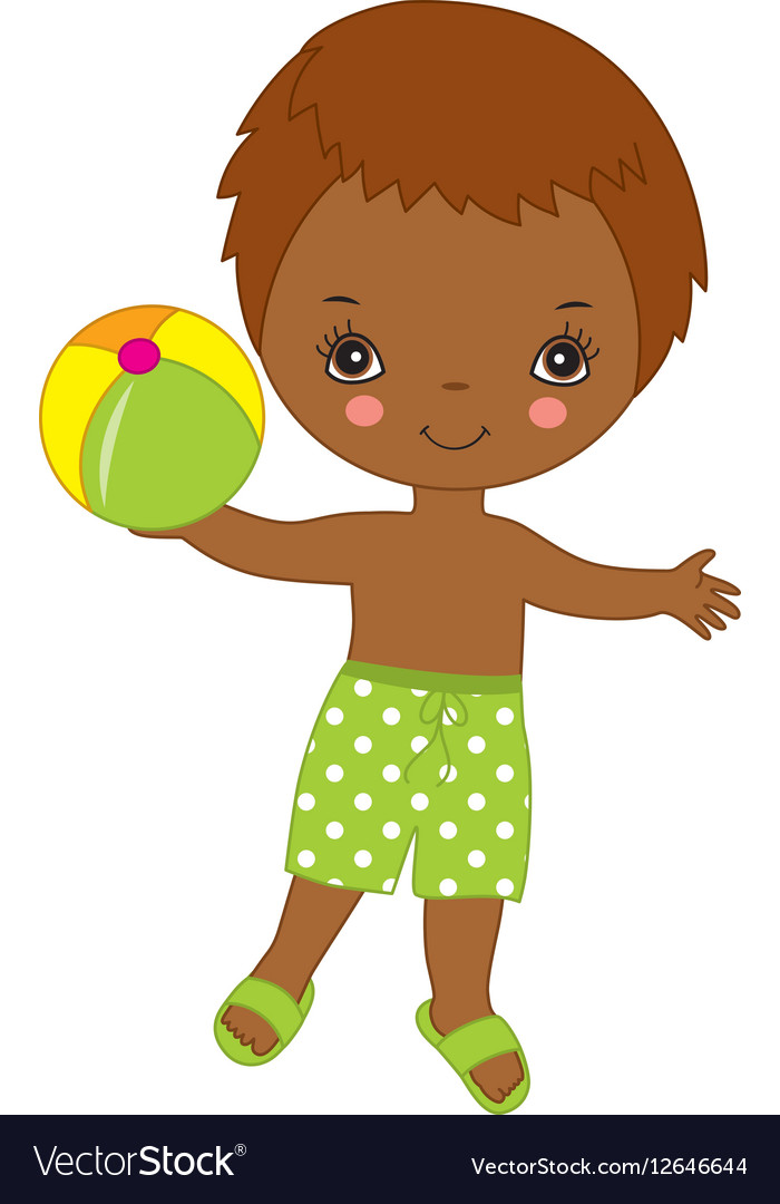 Little African American Boy with Ball