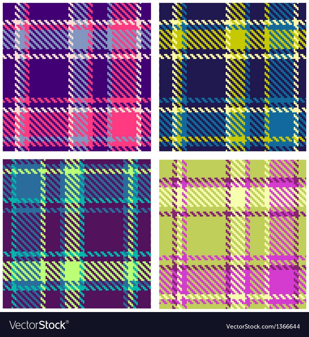 Set seamless checkered plaid pattern