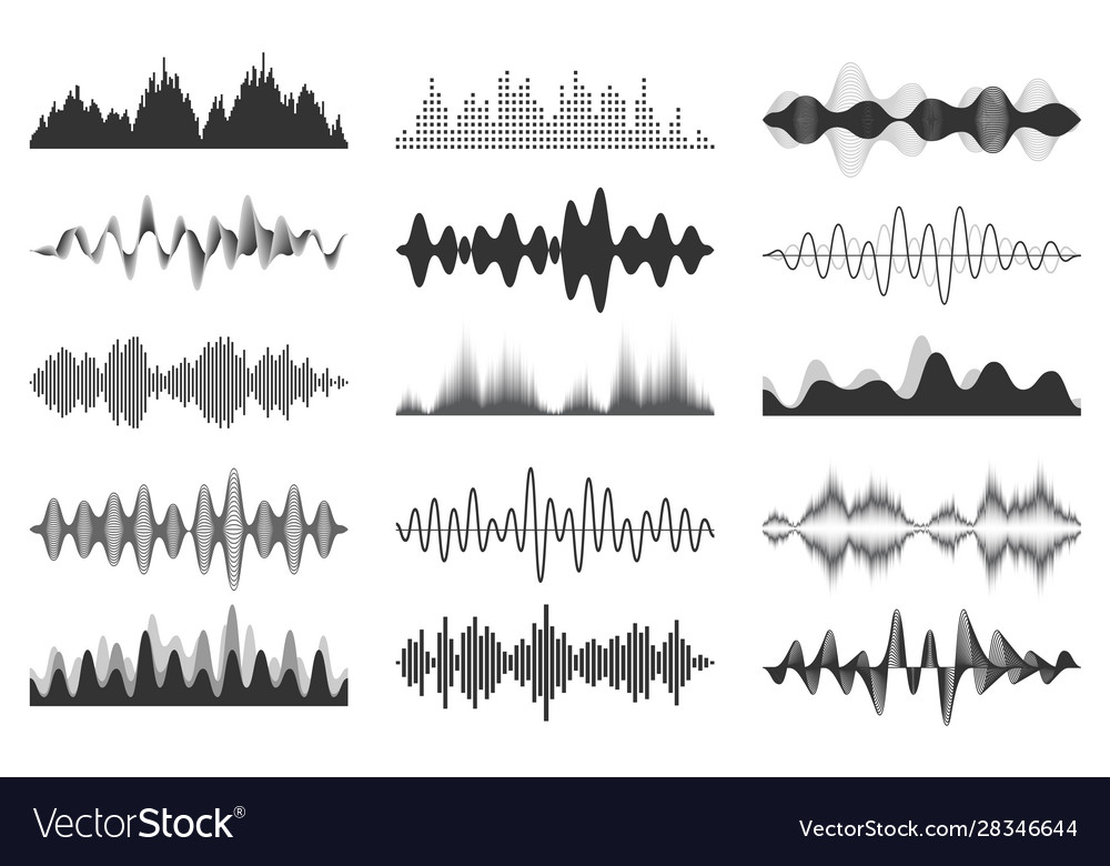Sound waves collection analog and digital audio