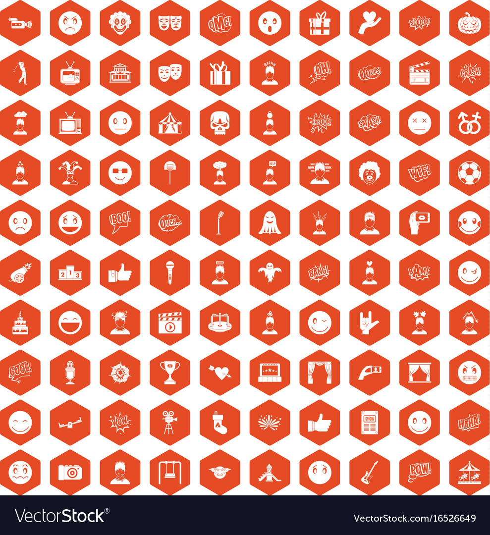 100 emotion icons hexagon orange