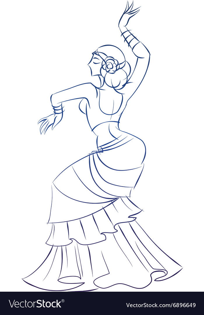 Belly Dancer Figure Gesture Sketch Line Drawing Vector Image