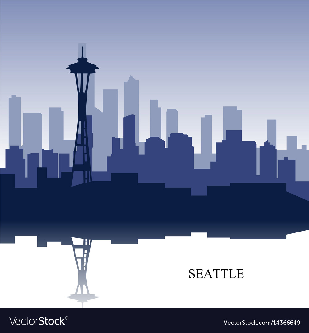 Blue cityscape of seattle wit text