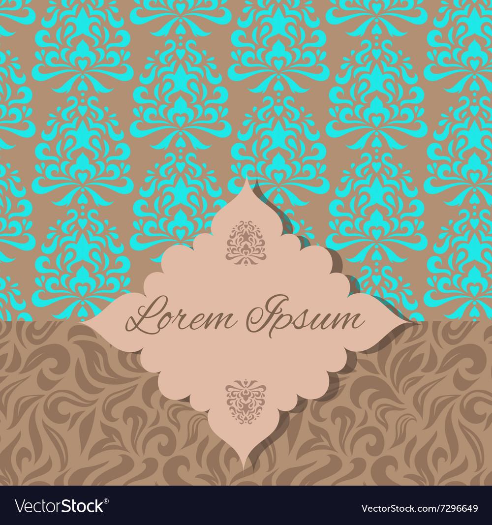 Brown blue damask pattern invitation