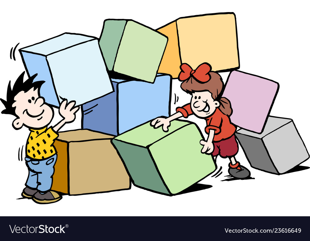 Cartoon of happy children building with big bricks