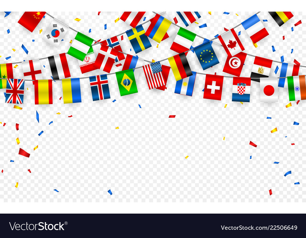 Colorful flags garland of different countries of