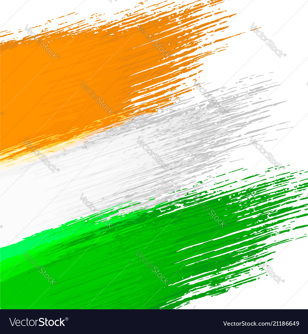 grunge background in colors of indian flag vector image