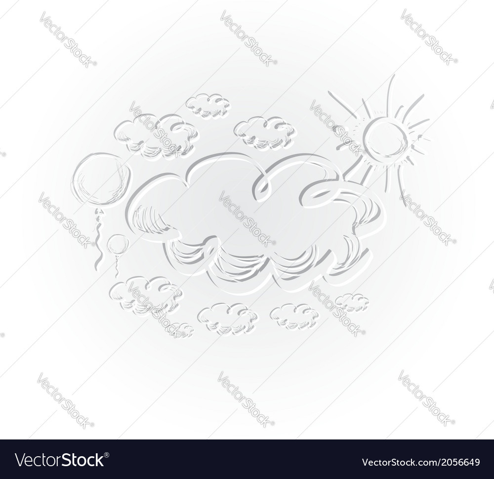 Hand drawing sky with clouds and sun