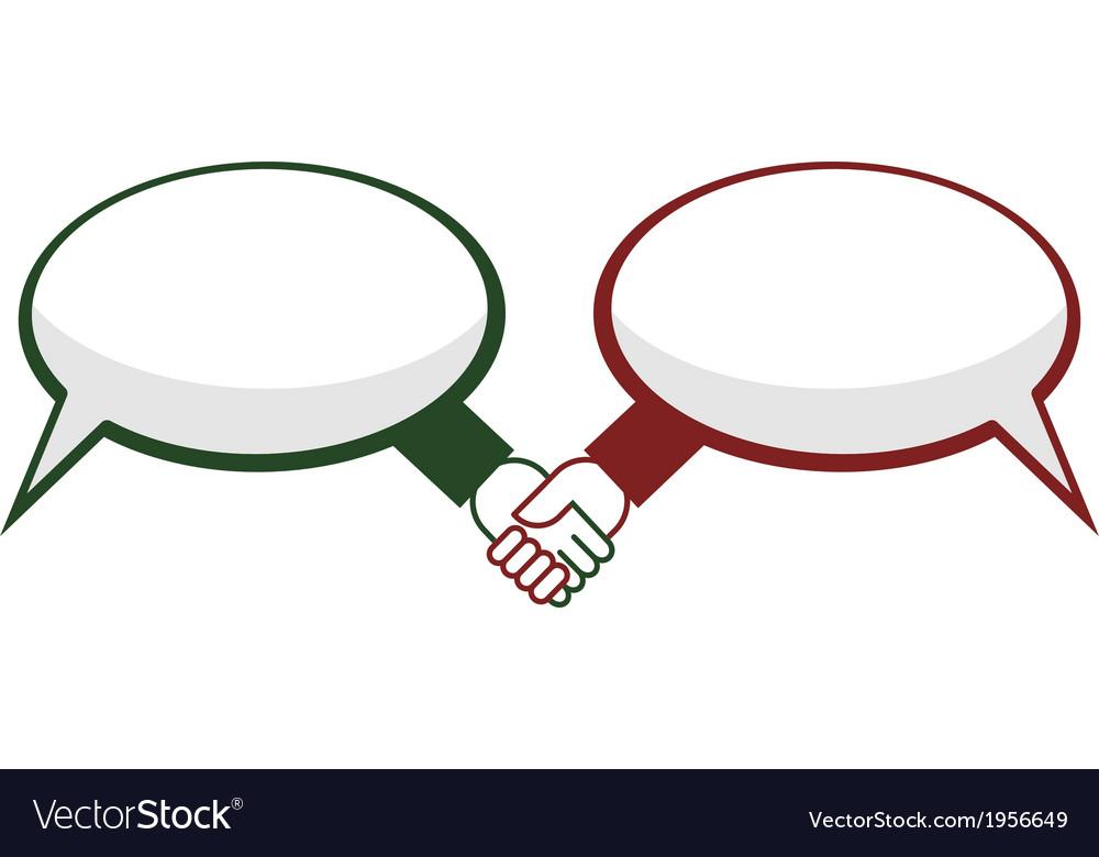 Hand shake between speech bubbles