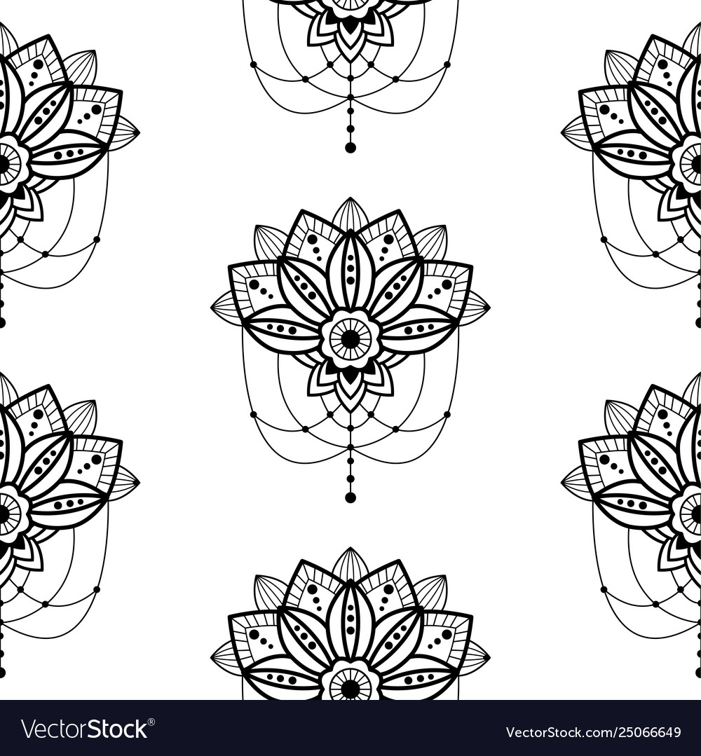 Mehendi mandala design flower with hanging pendent