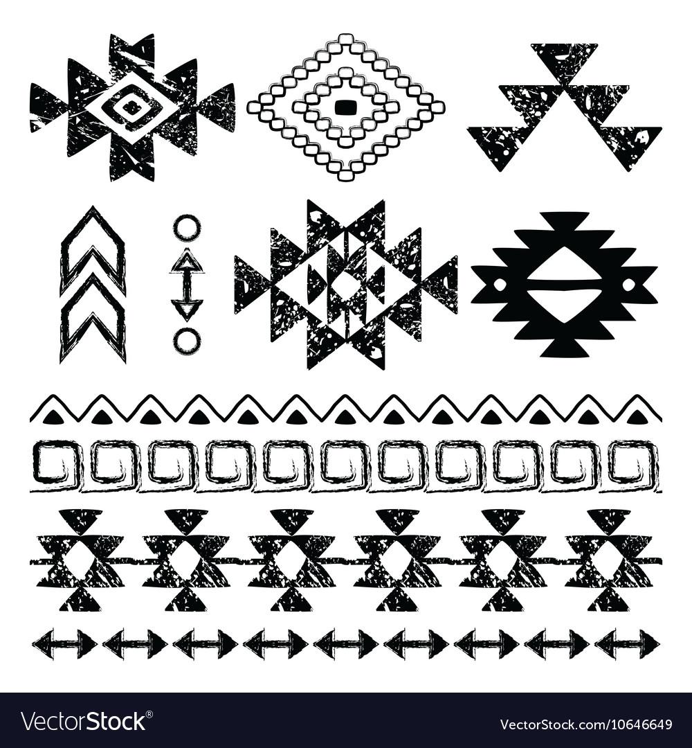 Navajo hand drawn print retro Aztec pattern Trib