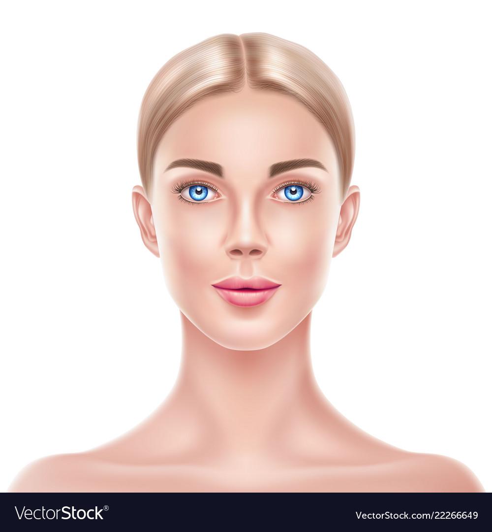 Realistic blonde woman model beauty face