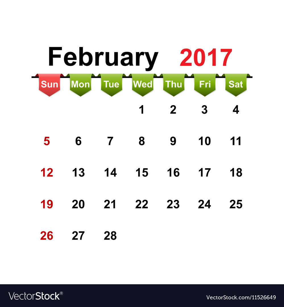 Simple calendar 2017 year february month