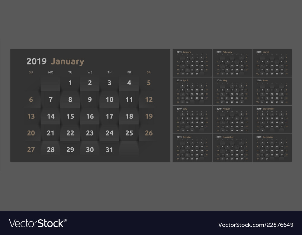 The Calendar For The 2019 New Year Printable 3d Vector Image