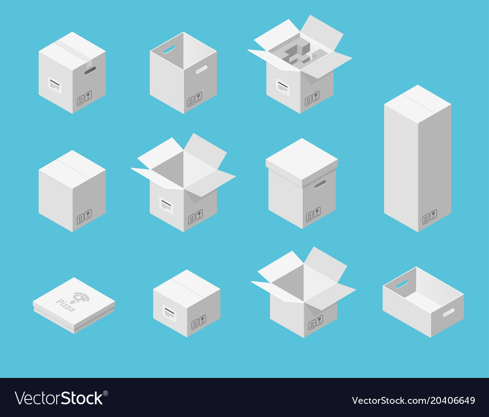 White carton packaging boxes set isometric view