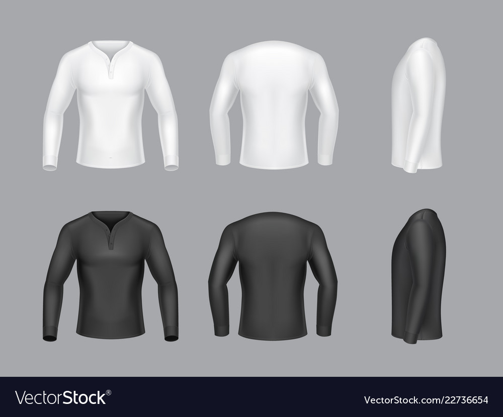 3d realistic white black long sleeve