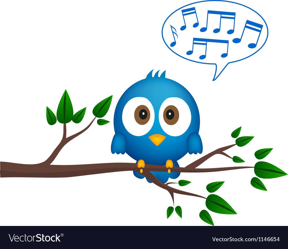 Blue bird sitting on twig singing
