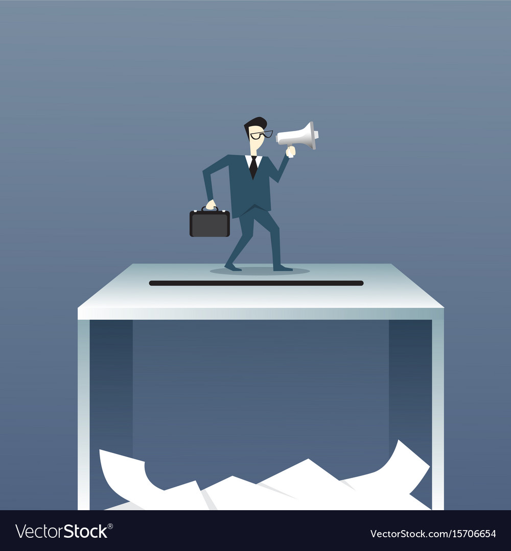 Business man holding megaphone stand on ballot box vector image