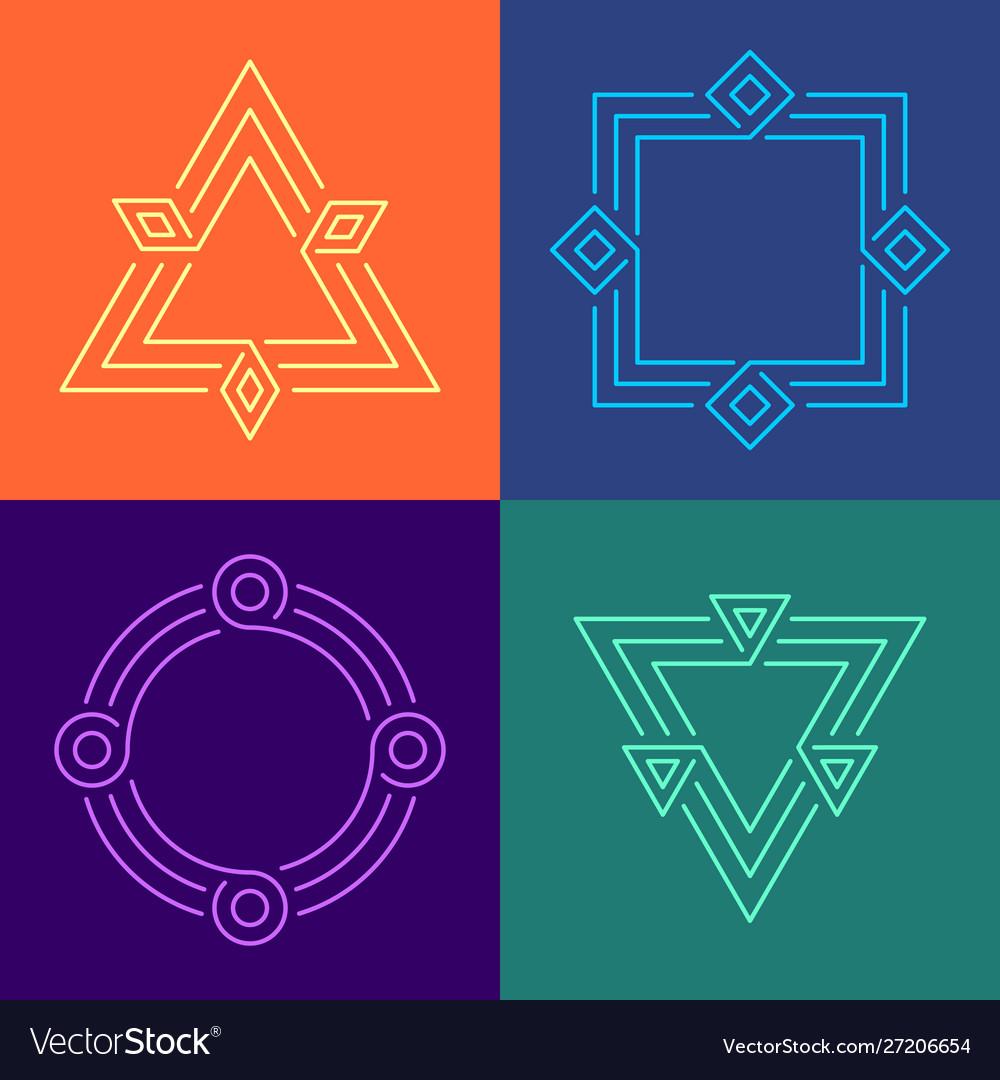 Creative geometric style linear frames set