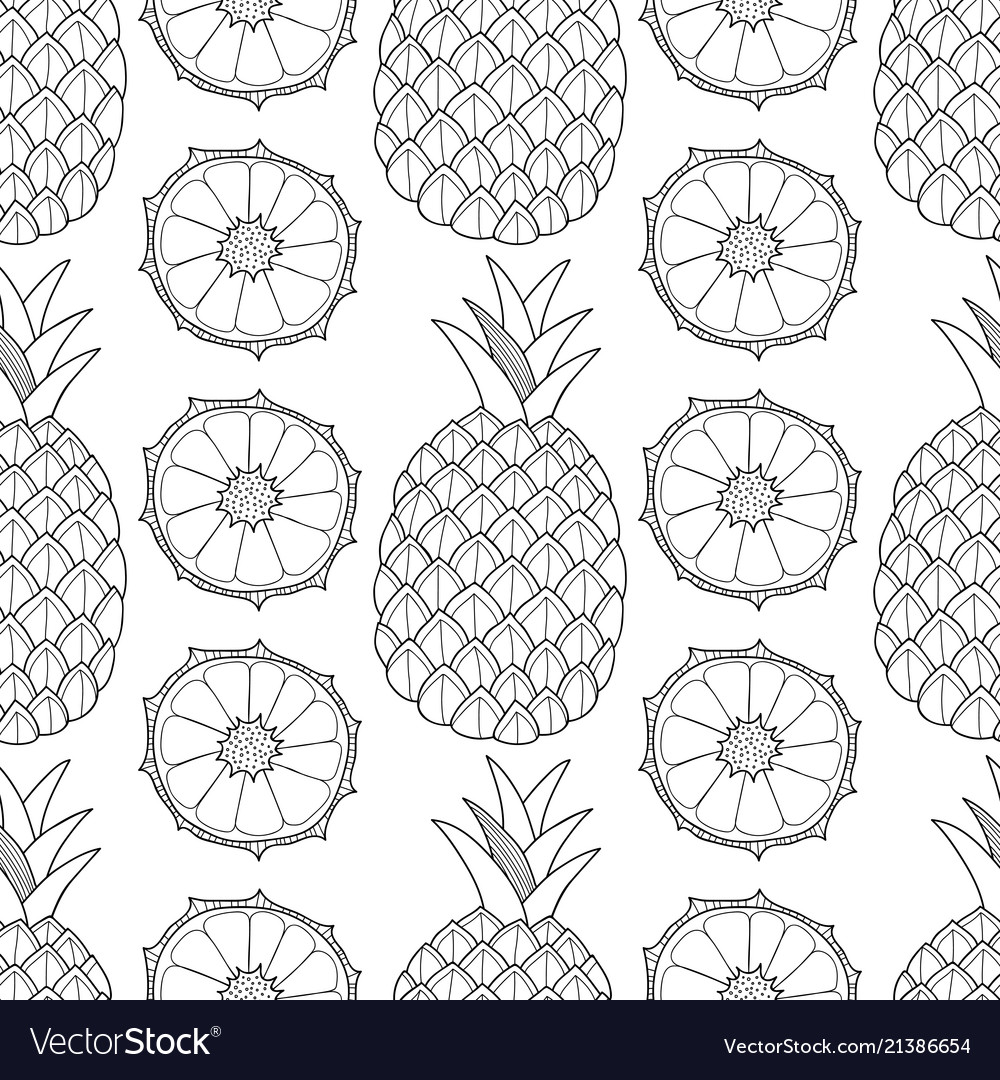 Pineapples tropical fruits black and white