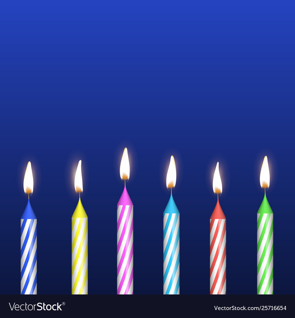 Realistic Detailed 3d Birthday Cake Candles Set Vector Image