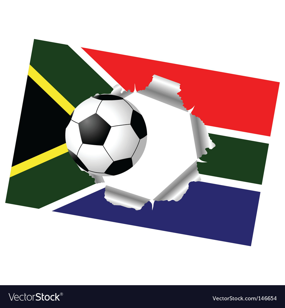 Ripped flag with soccer ball vector image
