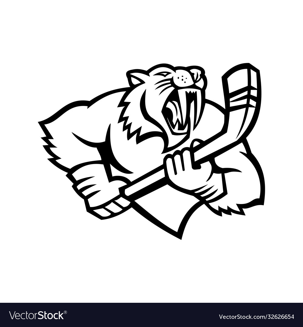 Saber toothed cat holding ice hockey stick mascot