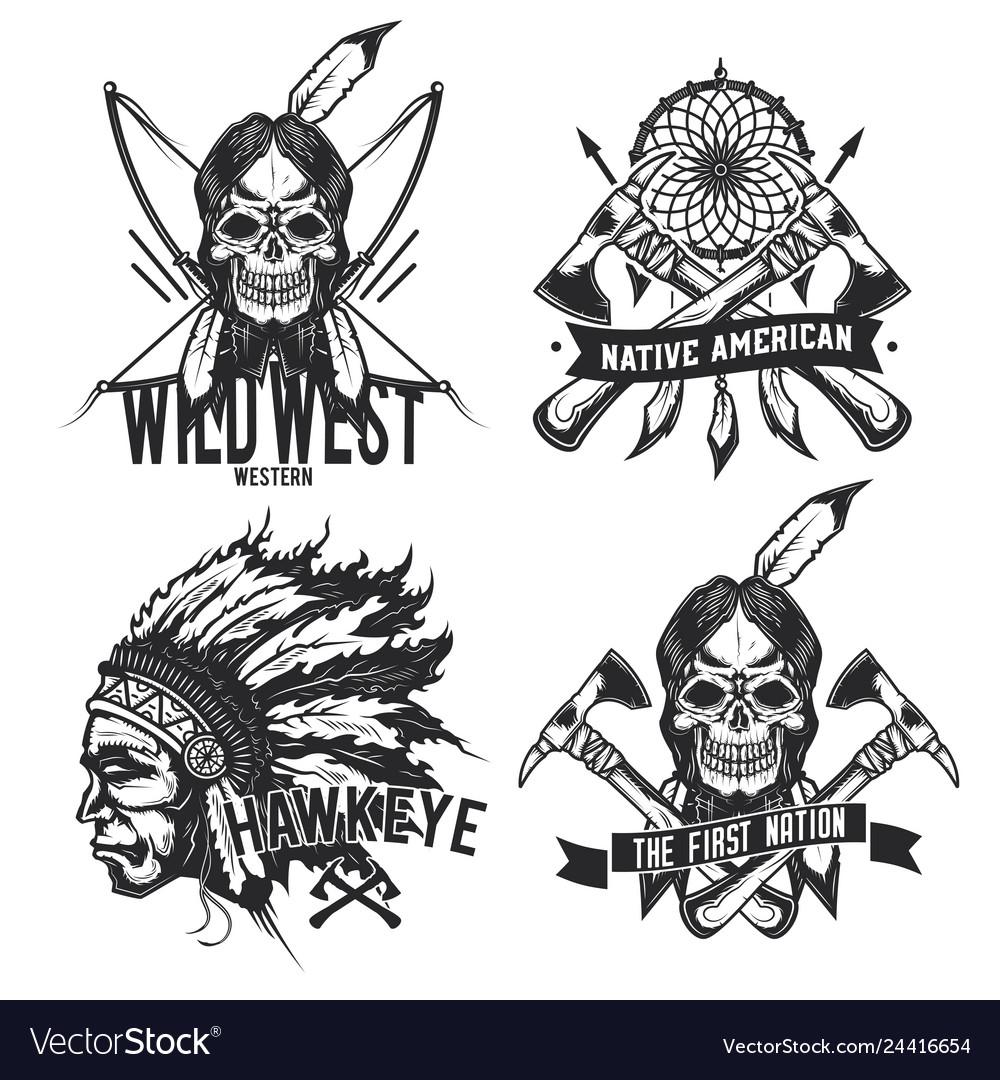 Set vintage native american emblems