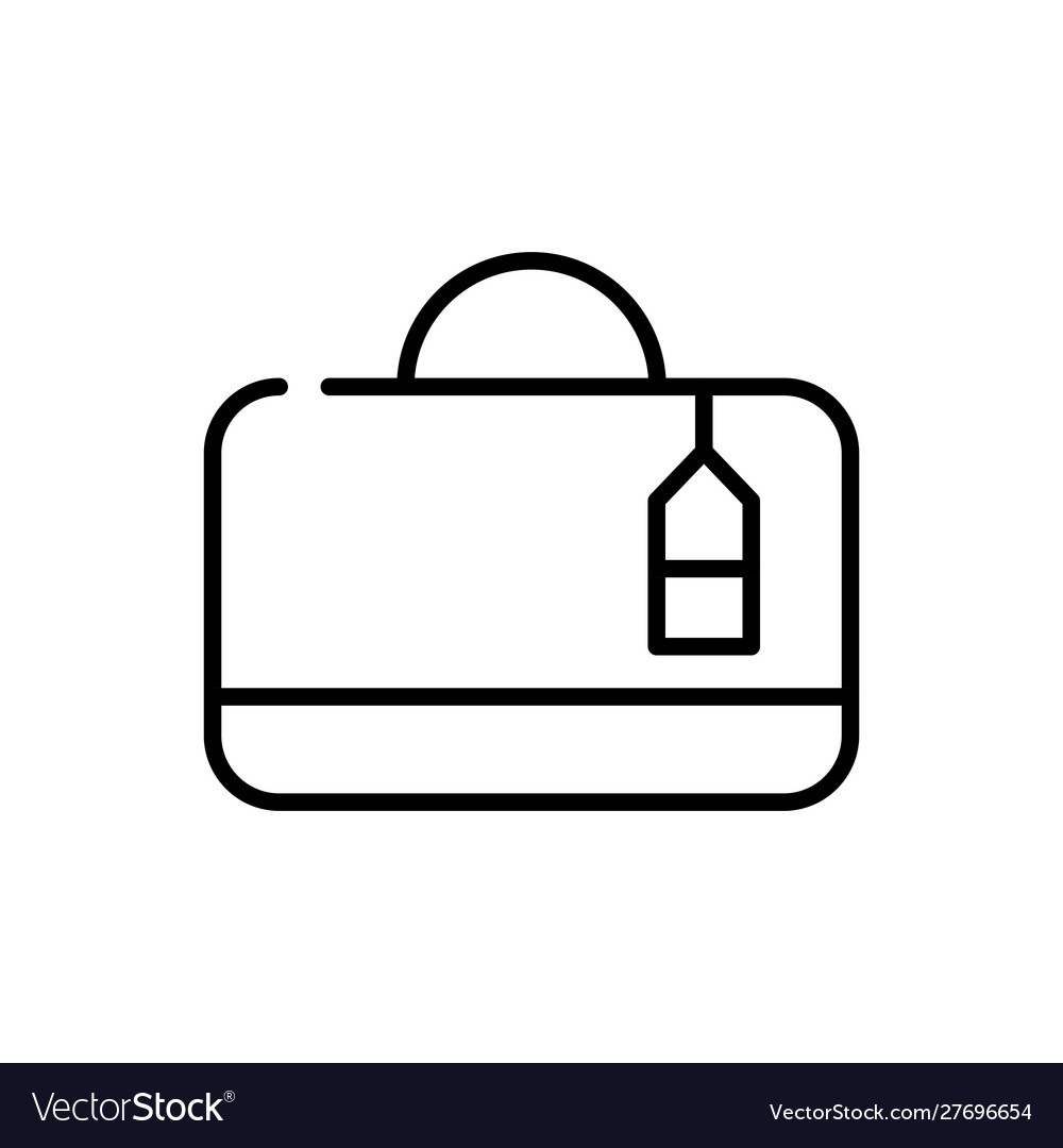 Suitcase with tag tourism travel thick line