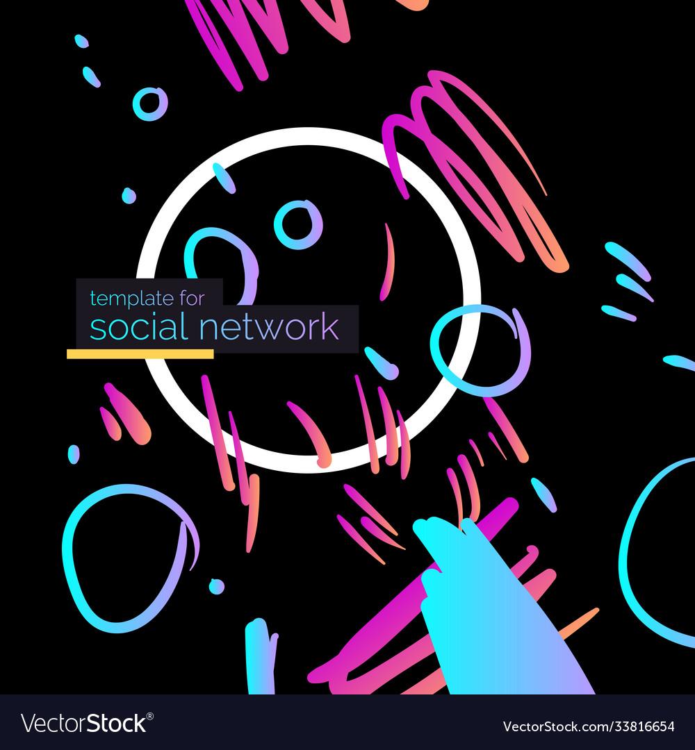 Template for social network modern poster