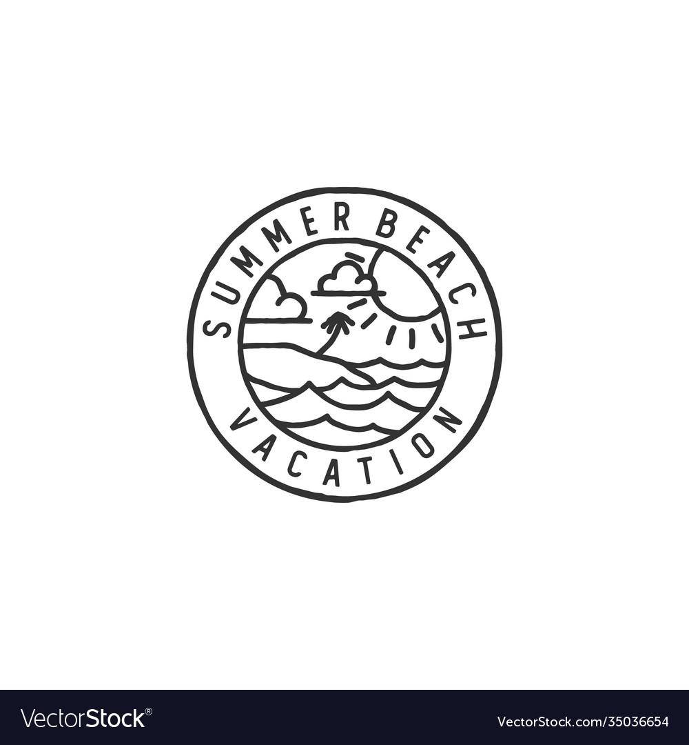 Vintage hipster retro sea ocean beach badge stamp
