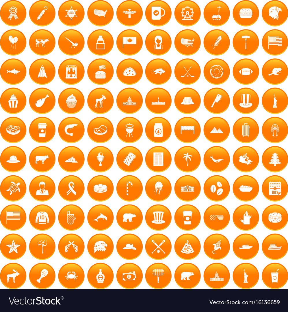 100 north america icons set orange
